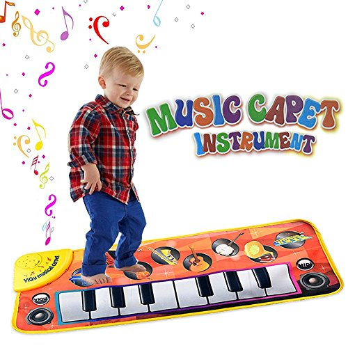 Piano Mat,Musical Carpet Play Keyboard Singing New Touch Blanket for Childrens Toys with 8 Music Instrument Pattern Great Baby Toy Gift for Birthday Christmas Festival