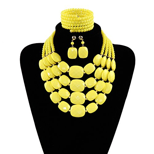 S/t Screw (Jewlery sets african beads jewelry set aqua multi layer necklace bracelet earring sets (Yellow))