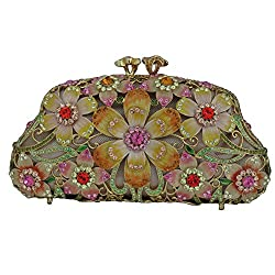 Floral Pattern Clutch With Swarovski Crystals