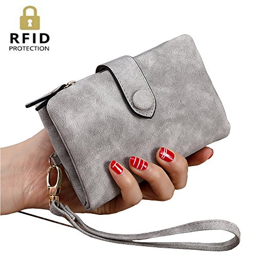 IFUNLE Womens Soft Leather Short Wallet Card Holder Change Cash Organized Large Capacity Zipper Buckle Travel Coin Purse with Detachable Wrist Strap (X 30 Light Gray Top)