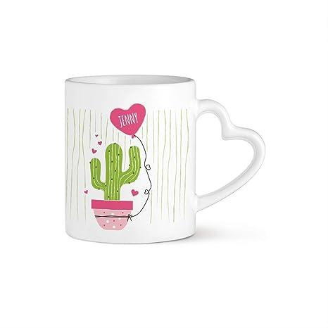 Tassenwerk Taza de Café Blanca con Impresión – Asa con Corazón – Cactus – Personalizada –