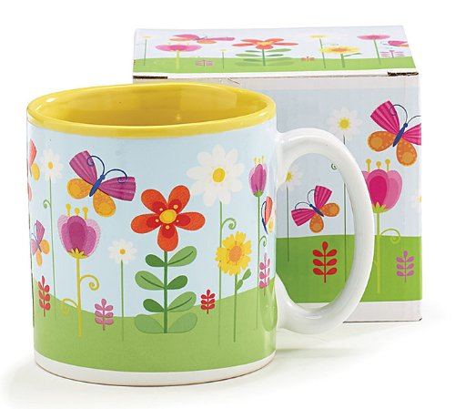 Butterflies and Flowers 13 Ounce Ceramic Coffee Tea Mug ()