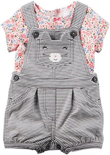 Carter's Girls 2-Piece Floral Tee & Striped Cat Face Shortalls; (12 (Carters Shortall)