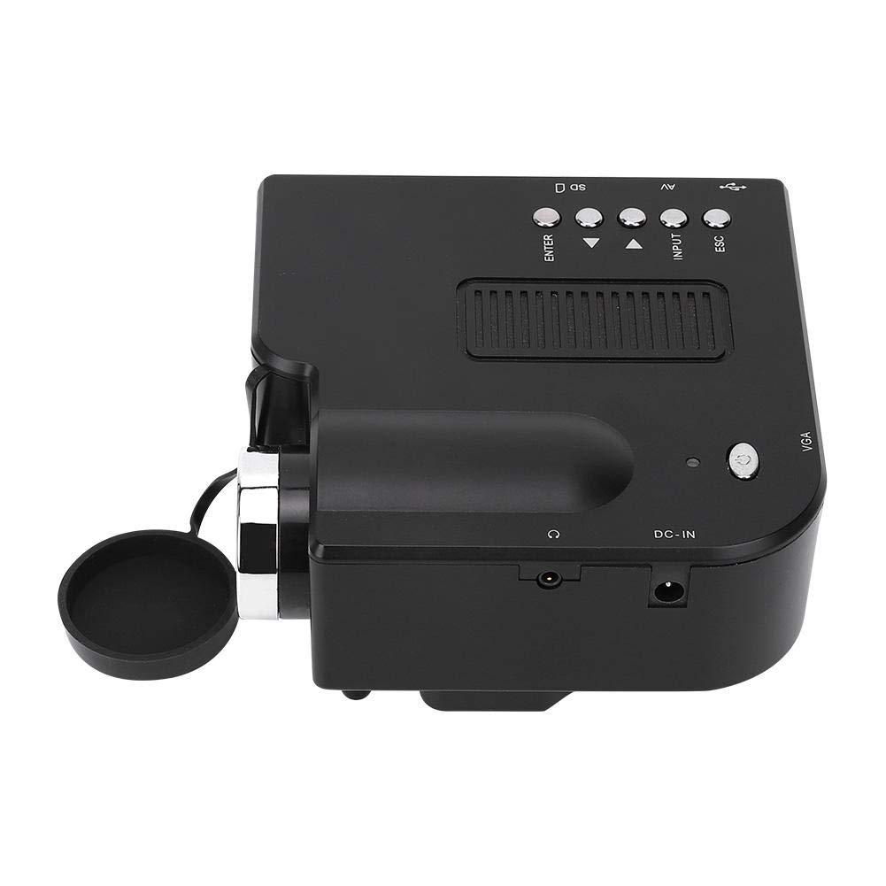 EU Mini proyector LED Altavoz incorporado Proyector de pel/ículas port/átil 1080P con interfaz multifunci/ón para tel/éfono con computadora