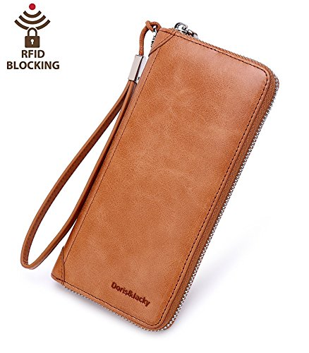 Women's Zipper Leather Wallet Large Capacity RFID Blocking Clutch Purse With Wrist Strap (Tan)