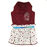 Doggy Dolly Designer Dog Apparel - Roni Floral Dress - Color: Burgundy, Size: XS