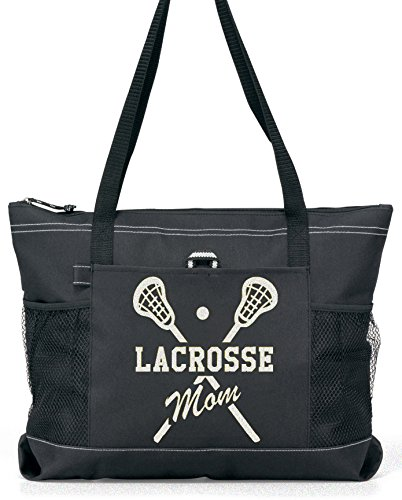 Lacrosse Mom Tote. Silver glitter on a Large Black Tote by Totesntogs