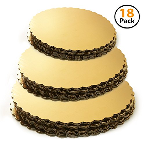 - Set of 18 - Cake Board Rounds, Circle Cardboard Base, 6, 8 and 10-Inch. Perfect for Cake Decorating, 6 of Each Size Gold