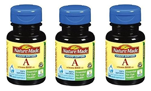 Nature Made Vitamin A, 8000 I.U., 100 Count Softgels (Pack of 3)
