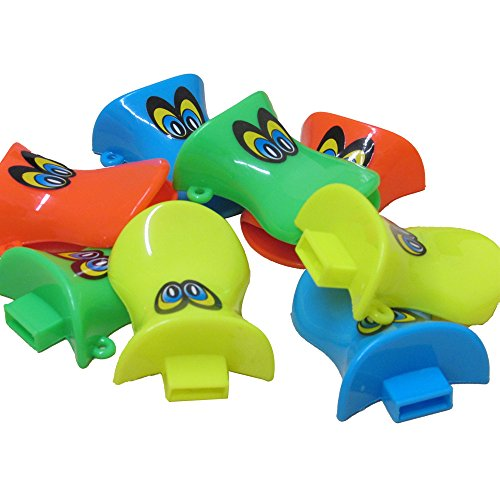 Toy Cubby Duck Bill Whistles Set of 18 - Assorted Duck Shaped Whistles Party Favor Play Set of 18 for Birthdays, Camping, Barbecues, Graduations, Beach and Playground ()