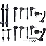 SCITOO 16pcs Suspension Kit 2 Front 2 Rear Sway Bar End Link 2 Upper 2 Lower Ball Joint 1 Pitman 1 Idler Arm 2 Inner 2 Outer Tie Rod End 2 Adjusting Sleeves fit 1998-2002 Ford Crown Victoria ES3495