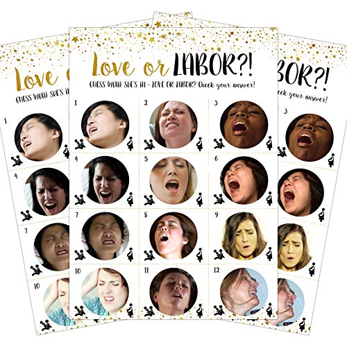 Baby Shower Games - Love or Labor   24pcs Game Cards + 1 Answer Key   Neutral Baby Shower Game - For Boys and Girls   Hilarious, Funny, Unique, Easy, Fun!   Baby, Bridal or Bachelorette Party Games by LoopBubble