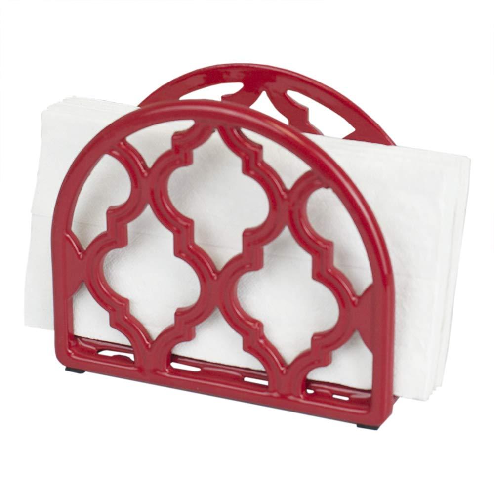 Home Basics Lattice Collection Cast Iron Napkin Holder (White)