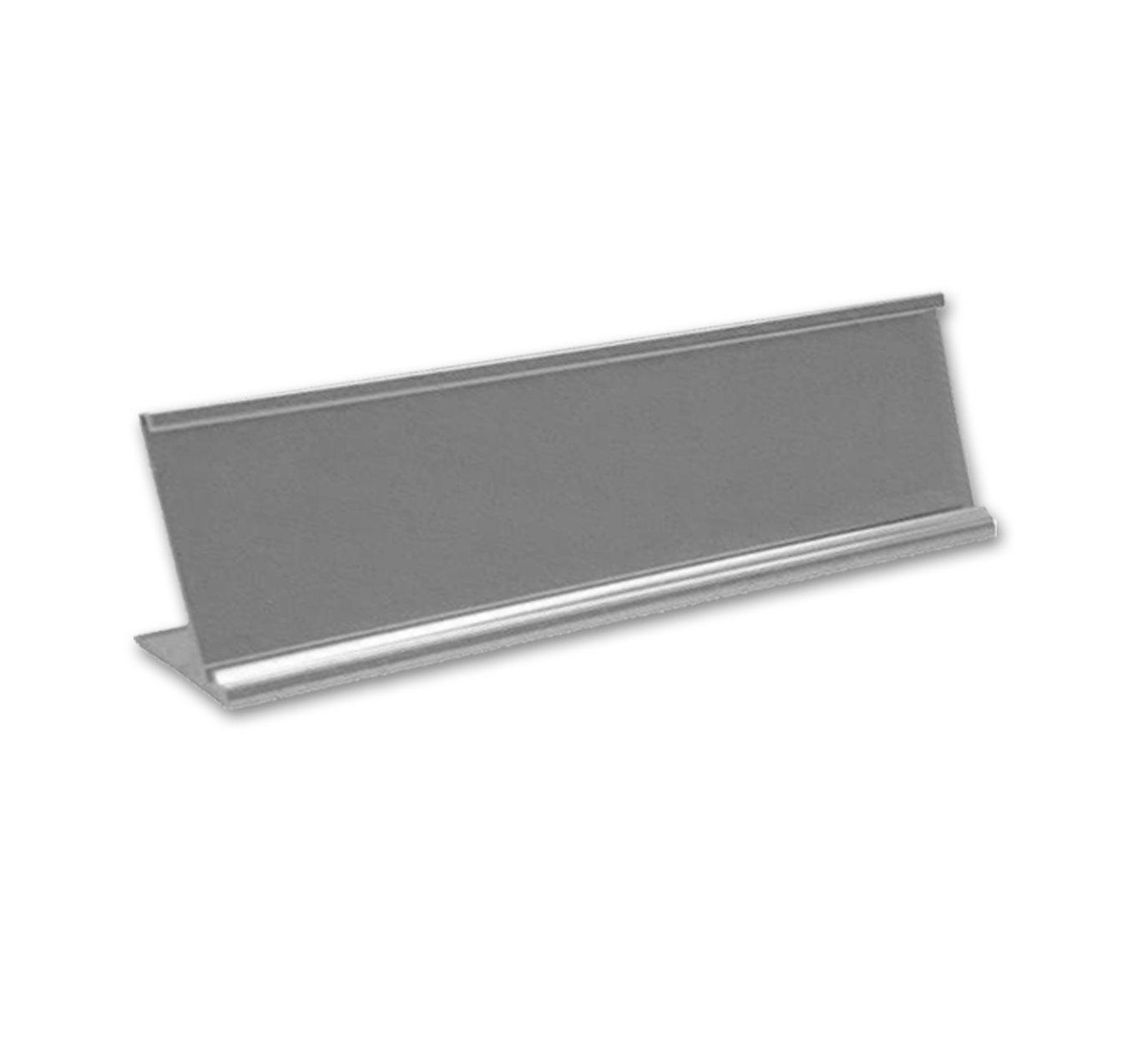Quality Satin Aluminum Desktop Office Nameplate Holder, 10'' x 2'' (1)