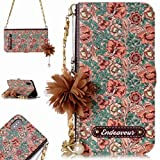 iPhone Xs Max Luxury Wallet Case with Long Strap,Aulzaju iPhone Xs Max Korean Flower Style Shockproof PU Leather Credit Card Case with Beautiful Pedant Kickstand Function for iPhone Xs Max-Brown