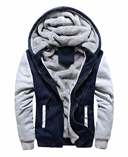 (FOURSTEEDS Women Hooded Faux Fur Winter Coats Light Grey&Navy Blue US 8)