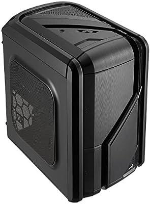 Aerocool GTRSBK - Caja Gaming para PC (ATX, iluminación LED Azul/roja, Ventilador Frontal 12 cm, Soporte refrigeración líquida, USB 2.0/3.0, Audio ...