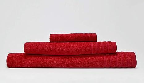 DOLORES PROMESAS Signature Juego Toallas Rojo 3 Piezas