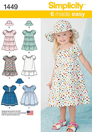 Girls Dress Simplicity - Simplicity 1449 Easy to Sew Toddler Girl's Dress and Hat Sewing Patterns, Sizes 2-4