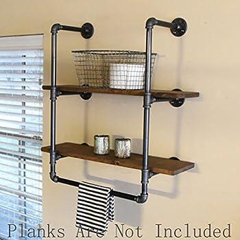Amazon.com: FOF Industrial Retro Wall Mount iron Pipe Shelf,Bathroom ...
