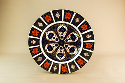 Stylish Vintage Old Imari Royal Crown Derby Bone China CAKE PLATE Dinner Retro Blue Unique English Late 20th Century LS