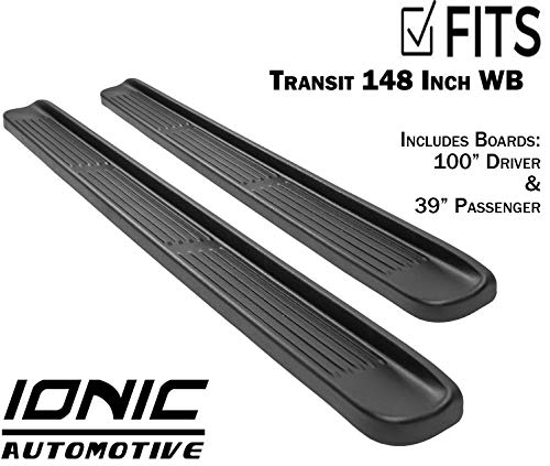 """Ionic Factory Style (Fits) 2015-2018 Ford Transit Van 148"""" WB 39"""" Driver & 100"""" Passenger Boards Only Running Boards Side Steps (3810393015)"""