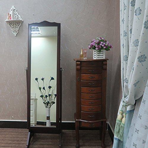155cm 157cm schmuckschrank mit spiegel schrank schmuckkasten schmuckkommode de braun. Black Bedroom Furniture Sets. Home Design Ideas