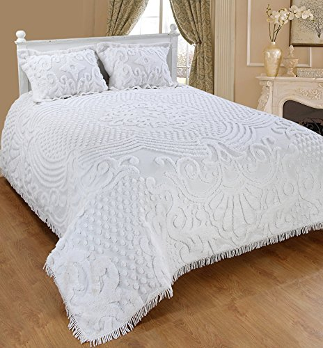 Saral Home Fashions Jewel Chenille Bedspread with Sham, Full, White