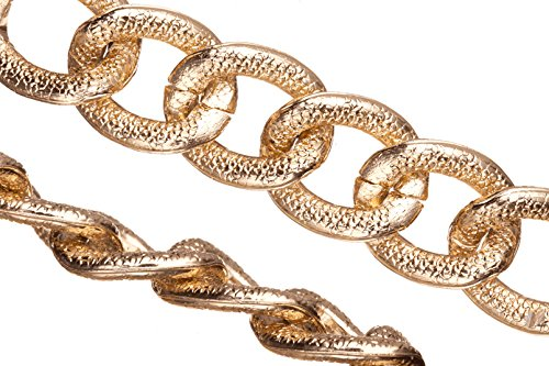 Aluminum Chain, Gold-Finished, Reptile Skin Textured Oval Links, 4mm Wire 22X18mm Sold Per 25Ft