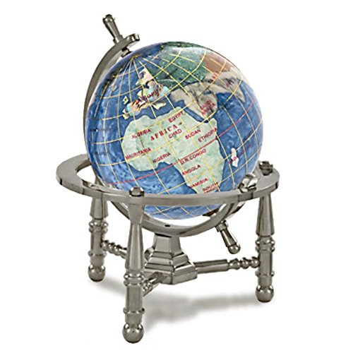 """KALIFANO 3"""" Gemstone Globe Paperweight with Marine Blue Opalite Ocean with Antique Silver Nautical 3-Leg Stand"""