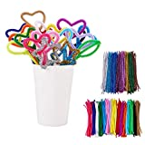 BENECREAT 480 PACK 24 Colors Pipe Cleaners Chenille Stem Christmas Tinsel Decoration DIY Chenille Stem Metallic Tinsel Garland Craft Wire, 7 mm x 12 Inch
