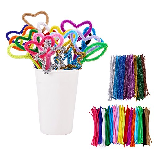 BENECREAT 480 Pack 24 Colors Pipe Cleaners Chenille Stem Christmas Tinsel Decoration DIY Chenille Stem Metallic Tinsel Garland Craft Wire, 7 mm x 12 (Metallic Wire Garland)