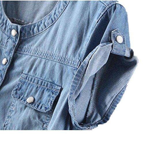 SHISHANG camisa de las mujeres del verano del nuevo vestido de moda europea de las mujeres del estilo delgado cuello redondo de manga corta de algodón de mezclilla denim azul fina denim blue