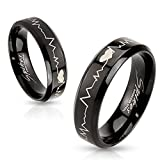 pulse ring - Heartbeat Stainless Steel Black IP Laser Etched Band Ring (7)