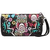 Colorful Owl Spring Western Style Fashion Clutch Purse Women Wristlets Wallet (Black)