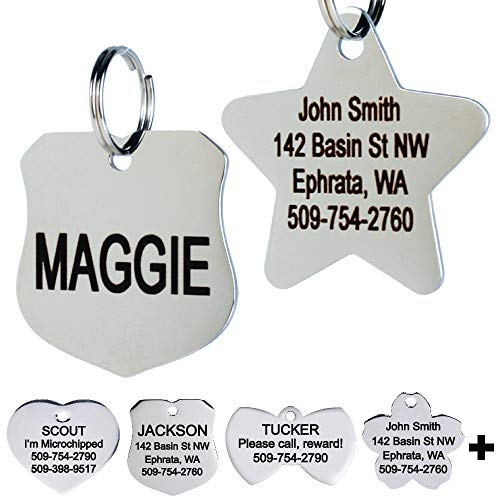 GoTags Stainless Steel Pet ID Tags, Personalized Dog Tags and Cat Tags, up to 8 Lines of Custom Text Engraved on Both Sides, in Bone, Round, Heart, Bow Tie, Flower, Star and More (Badge, Small)