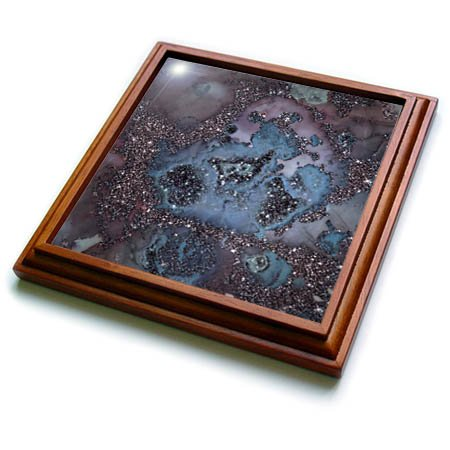 3dRose trv_269025_1 Luxury Dark Purple Ombre Gem Marble Glitter Metallic Faux Print Trivet with Tile, 8 by 8'' by 3dRose
