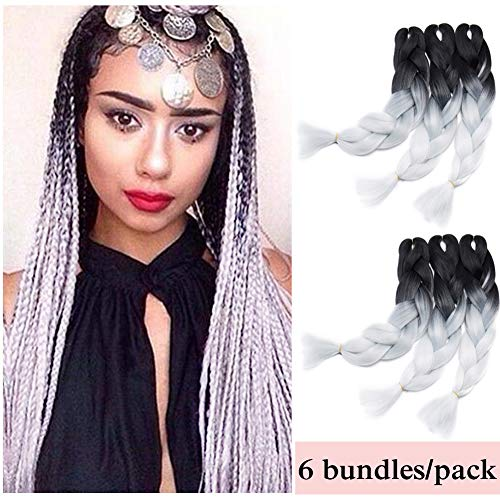 (Ombre Jumbo Braiding Hair Black to White 6 Bundles Crochet Twist Hair Extensions 24 inch Two-Tone Long Box Braids Heat Resistance Synthetic Hair for Women DIY Fun(24