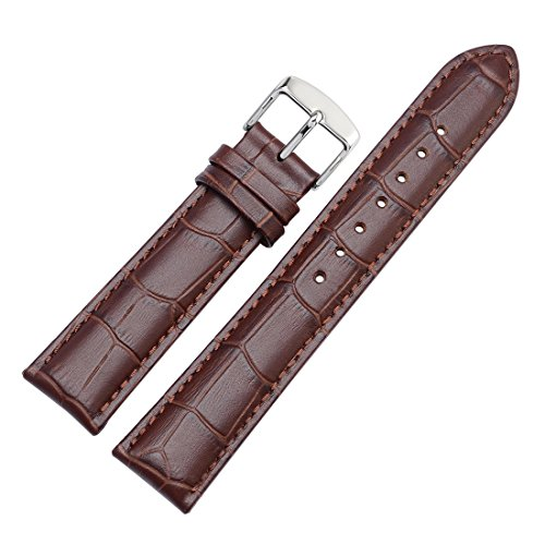 WOCCI 20mm Alligator Embossed Leather Watch Band, Replacement Watch Strap (Dark Brown with Contrasting Seam) (Dark Brown Leather Embossed)