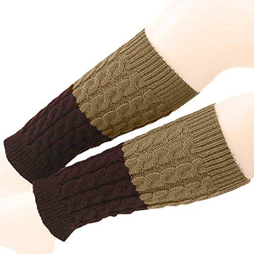 (Century Star Fashion Womens Warm Crochet Knit Boot Cuff Topper Leg Warmers Socks A Khaki Coffee)