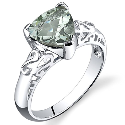 2.50 carats Trillion Cut Green Amethyst Ring in Sterling Silver Rhodium Nickel Finish size 6