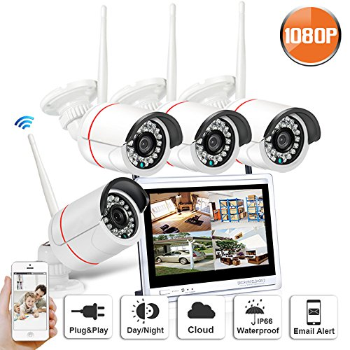 SW SWINWAY 12'' Wifi NVR 1080P Security Camera System Wireless with 4pcs 2.0MP HD WiFi Security Cameras (Built-in Router, IP66, Without Hard Drive)