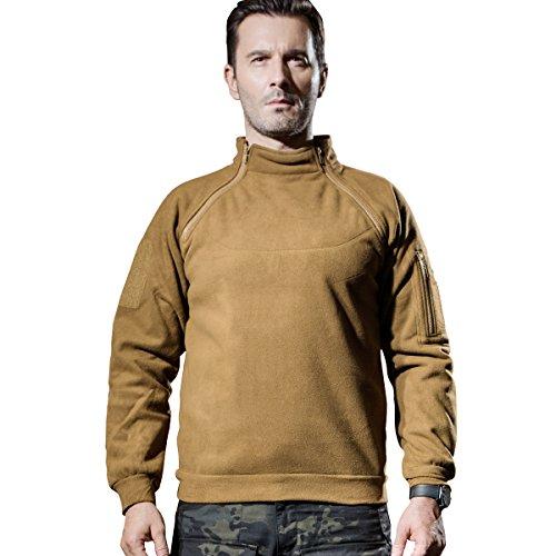 Free Pullover (FREE SOLDIER Outdoor Base Zip Pullover Fleece Coats Tactical Fleece Jacket (Brown, Medium))