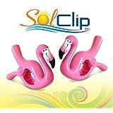 Beach Towel Clips, pegs, clothespins, épingles, pinces à serviette de plage, SolClip Canada, Flamingo Caribbean