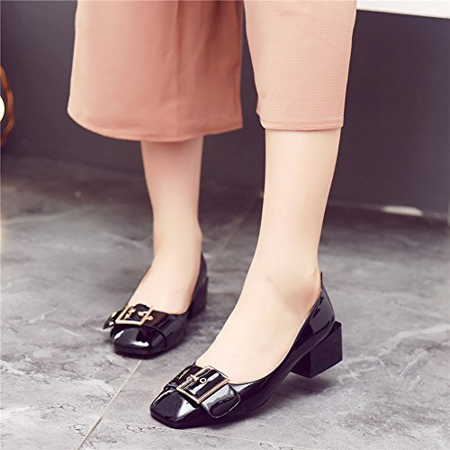 Chfso Womens Chique Solide Vierkante Teen Gesp Lage Top Slip Op Half Blok Hiel Lopen Pumps Schoenen Zwart