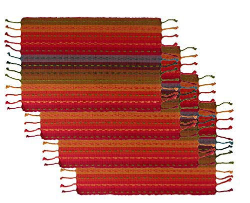 Cotton Craft - 4 Pack Salsa Stripe Hand Knotted Fringe Placemats - 13x19 - Red Multi - 100% Cotton - Hand Woven by Skilled artisans - Unique Hand Knotted Decorative Fringe