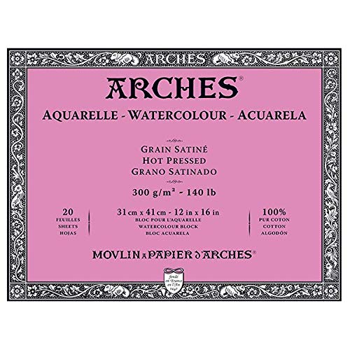 Arches Watercolor Block, Hot Press 12''X16'', by Arches