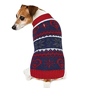 Dog Sweater, PETBABA Snowflake Print Pattern Pullover Cable Knit Stretch Soft Jumper to Keep Warm in Winter Snow Cold Weather Good for Christmas Xmas Festival Holiday - M in Red