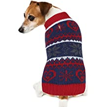 Dog Sweater, PETBABA Snowflake Print Pattern Pullover Cable Knit Stretch Soft Jumper to Keep Warm in Winter Snow Cold Weather Good for Christmas Xmas Festival Holiday - L in Red