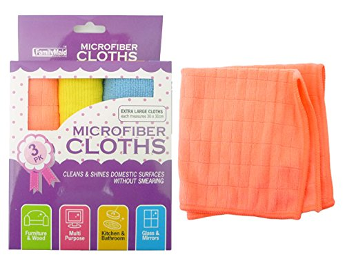 MICROFIBER CLOTHS 3PC 11.8X11, Case of 96 by DollarItemDirect